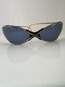 Vintage Renauld Sunglasses Bikini Gold with Blue Lenses Sun Glasses