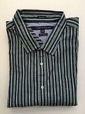 NWT Men's Tommy Hilfiger LS Dress Shirt 80's 2 Ply Custom Fit Blue Green XXLarge