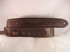 LEATHER BROWN INDIAN EMBOSS BASS, ACOUSTIC GUITAR STRAP