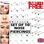10 x Nose Studs Set I L Screw Shape Silver Ball End Gold Piercing Surgical Steel