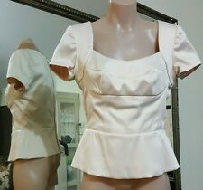 NWTS Moss & Spy Dolce Top.Sz8.Cotton blend satin in shell.Has stretch.Ret $215