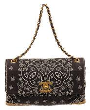 Chanel Black Logo Jumbo Bandana Flap Shoulder Bag