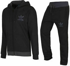 ADIDAS NEW MENS ORIGINALS FLEECE SPO FULL TRACKSUIT JOGGERS HOODIE PANTS - BLACK