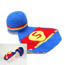 0-6Months Baby Superman Pattern Crochet Costume Outfit Set Hat Photography Props