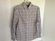Croft&Barrow Men's Small Easy Care Brown, Black, & Blue Check Long Sleeve Shirt