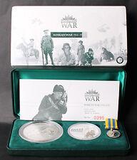 Australia 2003 Korea War 2oz Kookaburra Privy Coin & 1oz Medal Silver Set