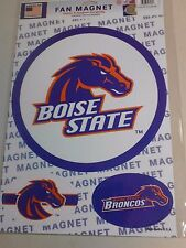 "NCAA BOISE STATE BRONCOS MAGNETS 10 1/2"" & TWO 4 1/2"" X 3"" BRAND NEW NICE !"