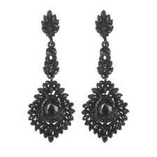 Black Crystal Teardrop Chandelier Earring