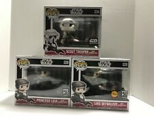 Funko Pop Star Wars Speeders Princess Leia, Luke Rare Chase & Scout Trooper Excl