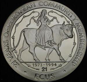 GIBRALTAR 21 Ecu 1994 Proof - Silver - Europa on a Bull - 1425 ¤