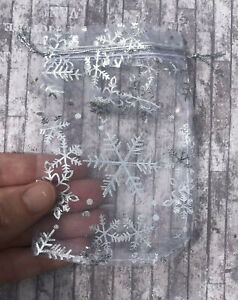 Christmas Organza Bags x4 Gifts 14 x 9 Snowflakes Silver Jewellery Packaging UK