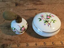 VINTAGE  'FOREIGN PORCELAIN' LIDDED TRINKET DISH & SPRAY PERFUME BOTTLE