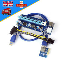 USB 3.0 SATA 4Pin PCI-E Express  Extender Riser Card Power Cable to 16x Adapter