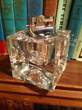 Vintage Heavy Crystal Square Table Top Lighter