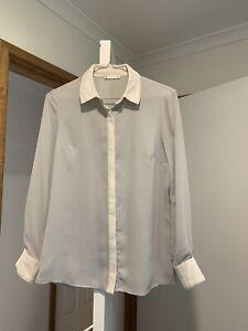 Light Grey Long Sleeve Button Down Blouse / Shirt - Size 6