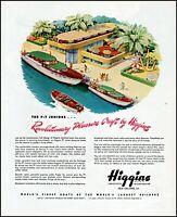 1945 Higgins boats PT yacht beach landing PT junior vintage art Print Ad adL58