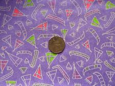 Novelty tepees canoes print purple patchwork quilting 100% cotton fabric METRE
