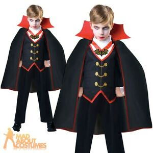 Kids Boys Dracula Costume Victorian Vampire Halloween Fancy Dress Childs Outfit