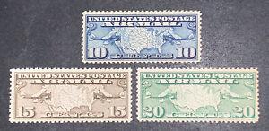 TRAVELSTAMPS: 1926-30 US Stamps Scott # C7-C9 Map of US mint Original Gum MNH OG