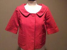 Ann Taylor Loft Coral Pink Salmon Jacket sz 2 Cropped Textured Mad Men