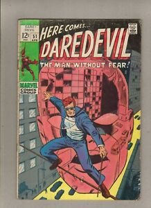DAREDEVIL #51_APRIL 1969_VERY GOOD_BARRY SMITH_SILVER AGE MARVEL!