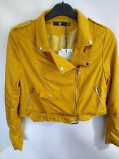 Missguided Mustard Faux Suede Biker Jacket Size 12 Bnwt Mx11