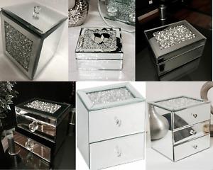 New Crushed Crystals Glitter Drawer Jewel Jewellery Box Trinket Storage Gift Box