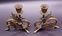 Vintage Antique Ornate Figural Bronze/Copper Griffin Dragon Candle Sticks Holder