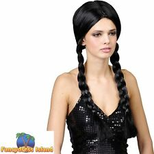 School Girl Plaits Wig Wednesday Addams Ladies Fancy Dress Costume Accessory
