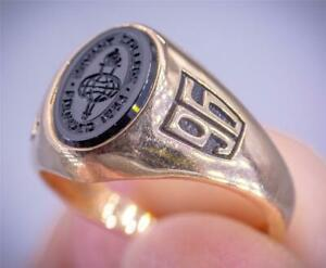 """VINTAGE JOSTENS SOLID 14K GOLD LADIES """"BRYANT COLLEGE"""" RI CLASS of 1996 RING 5g"""