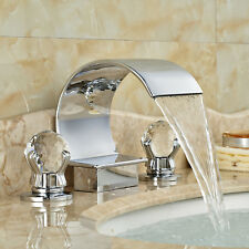Widespread Bathroom Faucet Two Handle Chrome Brass Basin Sink 3Holes Mixer Tap