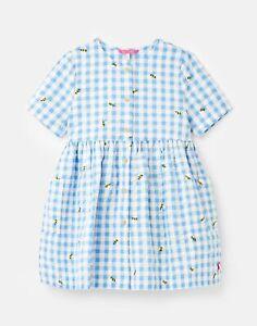 Joules Girls Elmira Button Through Smock Dress  - Blue Bees Check - 7Yr-8Yr
