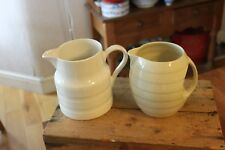 Vintage Pair Traditional Banded Milk / Dairy Kitchen Jug – Shabby! -