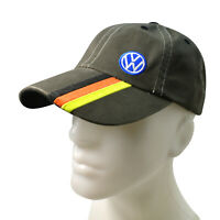 Volkswagen Blue Logo Brown Baseball Cap with Triple Stripe Germany Flag