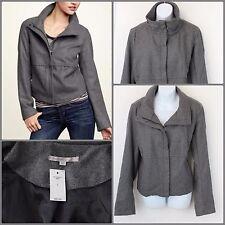 GAP Gray Wool Blend Jacket Boxy Modern Bomber Zip-Up Welt Pockets Womens Lg NWT