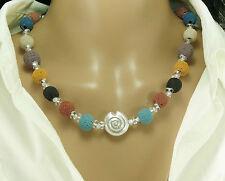 Halskette Lavakette Silber Muschel Perlen  Lava  Perlenkette  Kette