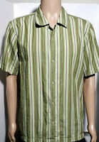 Mens Banana Republic Short Sleeve Button-Up Shirt ~ Medium Green Striped Vintage