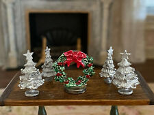 Vintage Miniature Dollhouse Group Pewter Christmas Trees & Wreath Decor 1:12