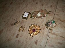 Lot of Jewellery from Estate polished stones, Pendants pins more Gold Microphone