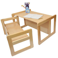Childrens Multifunctional Furniture Set of 2 1 Table & 1 Bench Beech Wood Light