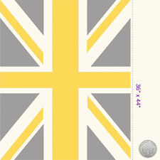 "Union Jack Flag Panel Yellow & Gray Cotton Fabric 36"" Panel Great Britain London"