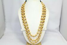 Traditional tribal 3 lines necklace silver wax beads gold plated