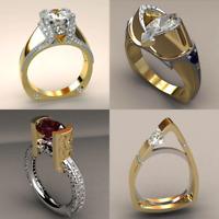 Vintage Female Zircon Stone Ring Unique Style Crystal Silver Gold Color Wedding