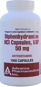 Generic Benadryl Nighttime Sleep-Aid Diphenhydramine HCI 50 mg 1000 Capsules