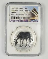 MS69 2016-P Australia 1 Dollar Silver Stock Horse One Of 1st 500 Struck NGC *380
