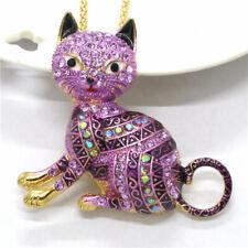 Hot Betsey Johnson Cute Purple Elegant Cat Animal Crystal Pendant Chain Necklace