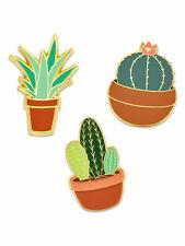 Flower Enamel Lapel Pin Set PinMart's 3-Piece Succulent Cactus Aloe