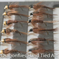 12 Gold Head & Standard Pheasant Tail Nymphs Trout Fishing Flies Dragonflies