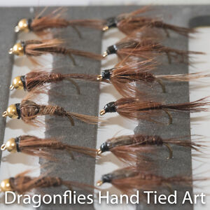 12 Barbless Gold Head & Standard Pheasant Tail Nymphs Fishing Flies Dragonflies
