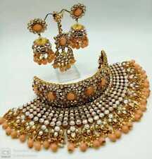 Bollywood Kundan Bridal Choker Necklace Set Jewelry Ad CZ Polki Peach Wedding